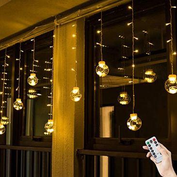 BLOOMWIN Rideau de Lumière avec Anneau Fixe LED Boule de Verre 3m * 0,65m 120LEDs 8 Modes d'Eclairage Guirlande Lumineuse Intérieure Décoration Fenêtre Chambre Mariage Noël Fête Anniversaire