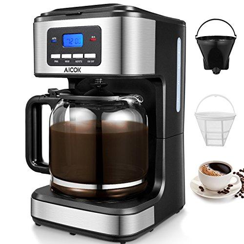 Aicok Cafetera, Cafetera Goteo, Cafetera Goteo Programable, Cafetera Goteo Filtro Permanente, Jarra de Vidrio, 1.5 Litros, 12 Tazas, 900W, Negro