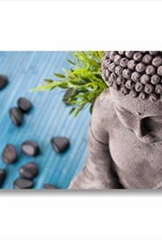 Buda Zen 2–cuadro moderno 90x 45cm Impresión sobre lienzo Cuadros religiosa piedras negras piedras Bambu Fresh Agua Naturaleza baño relax Muebles Casa Wellness Centro Belleza SPA Hotel