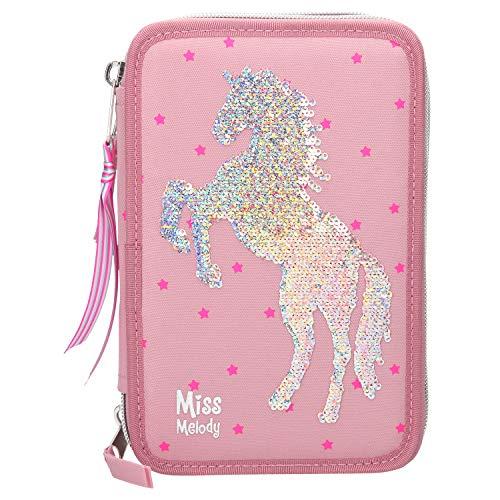 Depesche 10004 - Astuccio a 3 Scomparti, Miss Melody con Cavallo in Paillettes, Multicolore