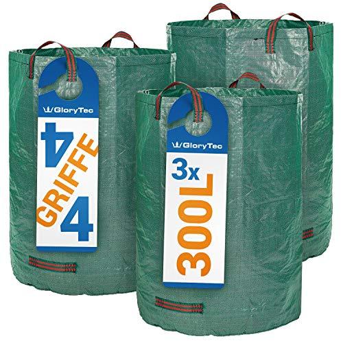 Glorytec Gartensack 3 x 300 Liter - mit doppeltem Boden - 4 reißfeste Griffe - Gartenabfallsack aus extrem robustem Polypropylen-Gewebe (PP) 150gsm