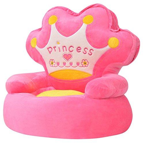 vidaXL - Poltrona di Peluche per Bambini, Motivo: Principessa, Colore: Rosa