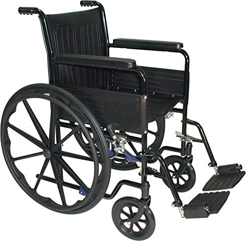Medline Ultralight Transport Mobility Wheelchair, Wide Seat, Permanent Desk-Length Arms, Swing Away Footrests, Black Frame