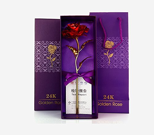 ShopAIS 24K Red Rose with Gift Box and Carry Bag