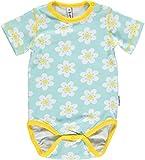 MAXOMORRA Baby Mädchen Body Kurzarm Hellblau Gänseblümchen Kinder Gots BioBaumwolle - Größe: 80
