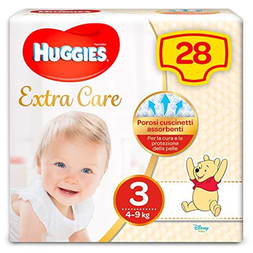 Huggies Pannolini Extra Care, Taglia 3 (4-9 Kg) - Confezione da 28