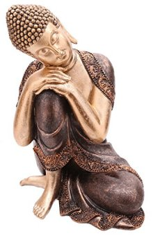 Decorativa figura de buda cabeza descansando sobre la rodilla–altura 29cm ancho 20,5cm Profundidad 18cm