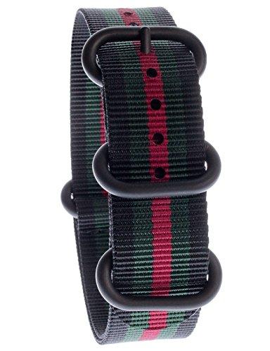 Yves Unisson Camani 20 mm orologi-Cinturino Nylon nato-colore nero/verde/rosso, nuovo