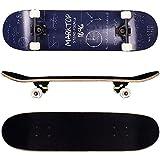 FunTomia® Skateboard monopatín rodamientos Mach1® y Rodillos de dureza 92A - Hecho con 9 Capas de Madera de Arce (matemáticas/Azul)