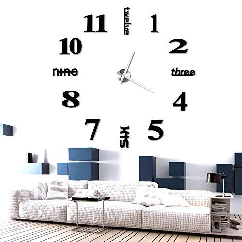 Anpro Orologio da Parete Effetto Tridimensionale 3D,3D adesivi orologio, Decorazione Perfetta per...