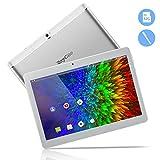10,1 Zoll 3G Android Tablet, Android 8,1 Quad Core CPU, 64 GB ROM, 2 GB RAM, IPS HD (1280 x 800), entsperrter Telefonanruf Phablet PC mit Zwei SIM-Kartensteckplätzen, GPS, WLAN Tablet Pad (Silber)