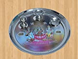 Kuber Industries™ Stainless Steel Pooja Thali with Ganesh Laxmi Saraswati Colorful Print, Insence Holder Diya and Bowl (Attached)- 12 Inches (POJ10)