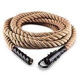 Capital SportsPower Rope Kletterseil Schaukelseil mit Haken Schwungtau Tarzanseil mit Stahlhalterung Deckenbefestigung zum einhaken (9m 12m oder 15m Länge, Seildurchmesser: 3,8cm, dreischläg, aus Hanf) beige
