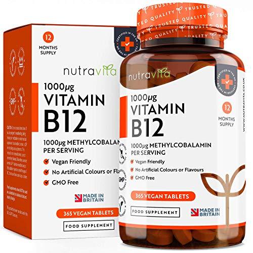 Vitamina B12 1000 mcg 365 compresse (12 mesi di alimentazione) | 365 compresse a rilascio prolungato alla metilcobalamina ad alta resistenza | Prodotto nel Regno Unito da Nutravita