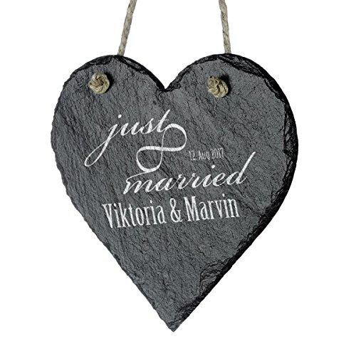 Cuore in Ardesia Effetto polarizzato, da Appendere, con Incisione, Ardesia, Motiv Just Married...