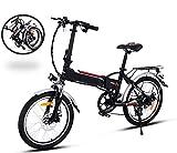 yukio Vélo Electrique Pliant 250 W à 7 Vitesses VTT Pliable Adulte Vélo de Montagne Electrique Femme Homme 20 Pouces - Phare à LED - Max Vitesse 35 km/h(Noir)