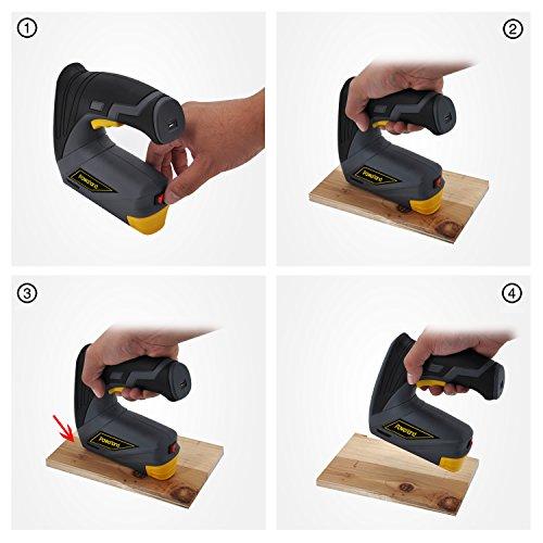 Powerland CSG01 Agrafeuse 3,7 LI avec Boîte en (Type 530, Longueur 8 mm) et Chargeur 3 en 1 en acier agrafe Pistolet agrafeur + 1000 agrafes à ongles ameublement agrafeuse...