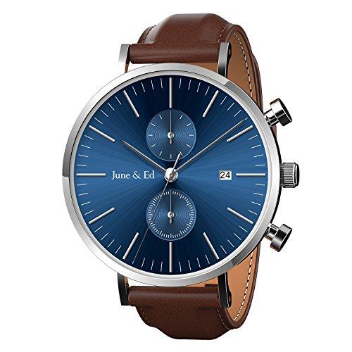 a1f3d627d June & Ed Cuarzo Acero Inoxidable Correa Reloj de pulsera para Hombre con  la ventana del dial de cristal de zafiro