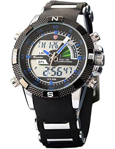 Shark SH044 - Reloj Hombre de Cuarzo, Correa de Goma Negra