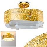 Deckenleuchte Novara in Gold mit tollem Wellen-Design - Designer-Leuchte für das Esszimmer - Küche - Metall-Leuchte mit Glas-Schirm für LED - Eco Halogen - Energiesparlampen