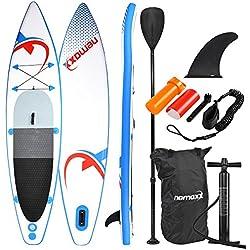 Nemaxx Sup Stand up Paddle Board - aufblasbare Sup-Boards - mit Transportrucksack, Alu-Paddel, Hochdruck Luftpumpe, Repair Kit + (je Nach Modell mit Fuß-Leine)