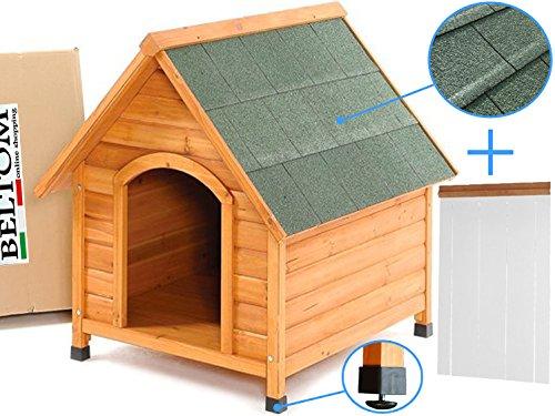 Beltom Cuccia XL in Legno per Cane Cani di Taglia Grande + Tendina Termica in PVC + Piedini...