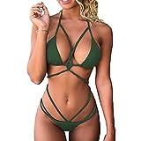 chicolife Womens Halter Sexy Costume da Bagno fasciatoio Criss Cross Bikini Set