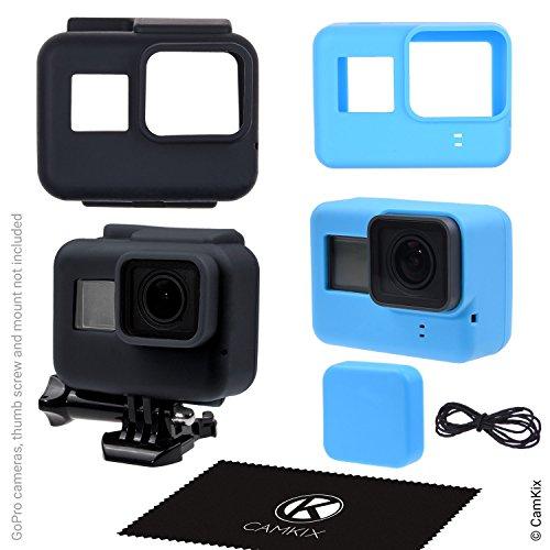 CamKix Custodie in Silicone compatibile con Gopro Hero 5 Black - 2 Cover Protettive - Nero (Telaio) / Blu (Telecamera) - Protezione per Telecamera e Telaio contro Polvere, Graffi e Leggeri Urti