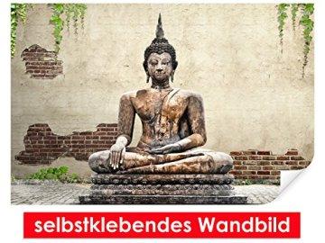Selbstklebendes-cuadro de Buda Estatua-Fáciles de pegar-Wall Print, Wall Paper, Póster, pantalla con pegamento de puntos de vinilo para paredes, puertas, muebles y superficies lisas de Trend paredes 3