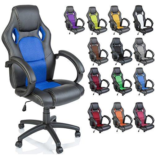 TRESKO Sedia da Ufficio Poltrona Ufficio Versione Racing 14 diferente Colores, braccioli Imbottiti, inclinazione, Sollevare SGS Testato (Blu)