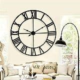 FOOSKOO Desk Clock Wanduhren Große Metall Dekorative Römischen Ziffern 80CM 3D Skeleton Silent Black Uhr für Küche, Schlafzimmer, Garten, Wohnzimmer, Studie, Büro (größe : 80cm/31.5in)