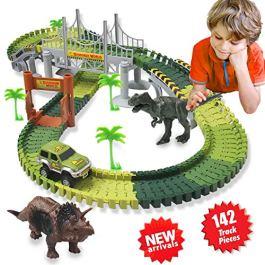ACTRINIC Kit Giocattolo Dinosauro Giurassico Mondiale e 142 Piste Flessibili Contiene 2 Dinosauri,1