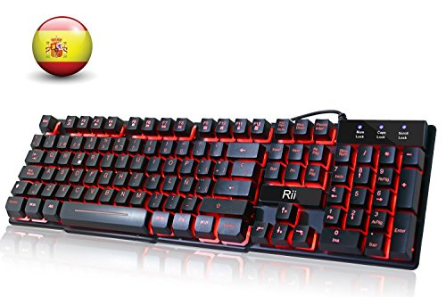 Rii RK100 Teclado Gaming,Teclado de Membrana con sensibilidad mecánica,USB...