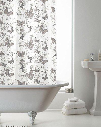 moderno de lujo Mariposa Baño Cortina de ducha PLATA 180 x 180xcm Metal Con Cuentas Ganchos