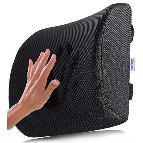Cuscino Lombare Memory Foam - Cuscino Per la Schiena e Cervicale, in Auto, sedia Ufficio - Soglievo Dolore Lombare - Massaggio Ortopedico, Sostegno Ergonomico Sciatica - Supporto Regolabile - ERGOGO