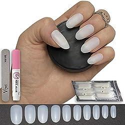 600pezzi ovale Nails 10misure-false nail tips Short Medium Full Cover naturale opaco acrilico unghie finte per saloni di manicure e nail art DIY--senza colla