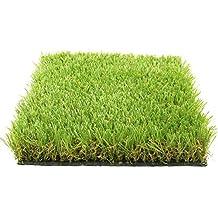 Césped Permanente Luxor de tipo césped / hierba / césped sintético artificial de alta gama, Color verde claro/ oscuro / amarillo 1x3M, 45mm