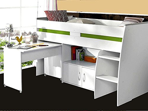 Hochbett Rean 1 204x110x177cm weiß Kinderbett Schreibtisch Kommode Kinderzimmer Bett