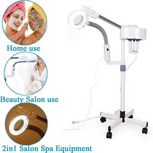 SOULONG 2 en 1 Vapeur Facial 5X Lampe Loupe Esthetique sur Pied Machine Vapeur à Visage pour Salon de Beauté Soin de Visage 26