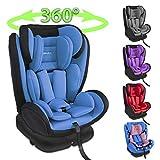 XOMAX XM-KI360 Siège auto pour enfant avecfonction de rotation et ISOFIX I bleu I 0-36 kg, 0-12 ans, groupe 0/1/2/3 I Harnais 5 points et 3 points I housse amovible et lavable I ECE R44/04
