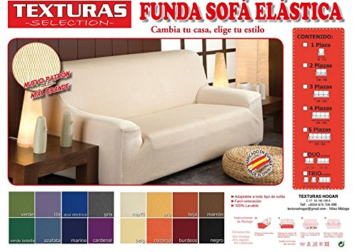 Funda de Sofá Elástica TEXTURAS SELECTION TÚNEZ ( Varios tamaños disponibles ) (3 PLAZAS ( 180-240 ), MARFIL)