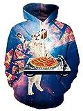 Idgreatim Unisex Sudadera con Capucha 3D Impresa Cordón Jersey Swearshirt con Bolsillos Pizza Cat 1 XL