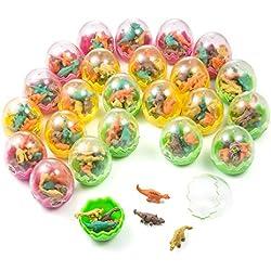 Comius Huevos de Dinosaurio, 24 Pcs Huevos Dinosaurio con poca Dinosaurio Mini Borrador lápiz, Novedad Huevos de Dinosaurio Toy para Niños Fiesta Cumpleaños