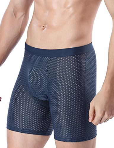 Men's Boxer Briefs- Ice Silk Lengthened Underwear Comfortable Mesh Lingerie Gift L- XXL