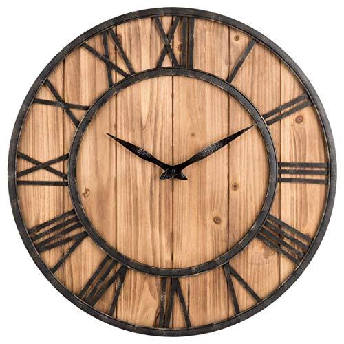 Likeluk Orologio da Parete Vintage, 15 Pollici (40 cm), Orologio da Parete in Legno, Orologio da Parete, Orologio da Parete, Senza rumori di ticchettio