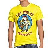style3 Los Pollos T-Shirt da Uomo, Dimensione:2XL;Colore:Giallo