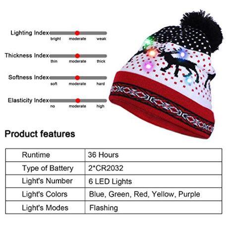 Howaf-LED-Lumineux-Bonnets-en-Maille-Nol-Chapeau-en-Tricot-Chaud-pour-Femmes-Dames-Filles-et-LED-Lumineux-Collier-pour-Enfants-Adultes-Costume-Dcoration-de-Nol