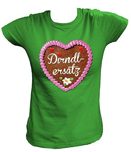 Artdiktat Damen T-Shirt - Lebkuchenherz - Dirndlersatz Größe M, grün