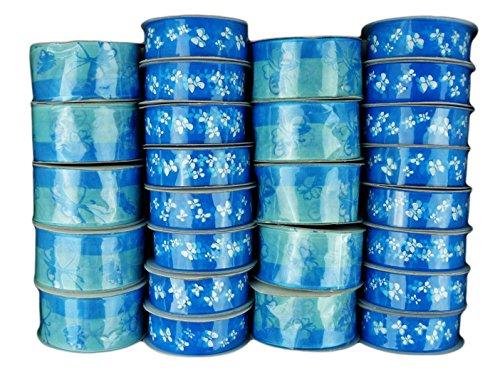 Unbekannt Regalo Bandas Gasa Cinta para Regalo Transparente Banda Decorativa Flores, Azul Mariposa, Breite 25 mm