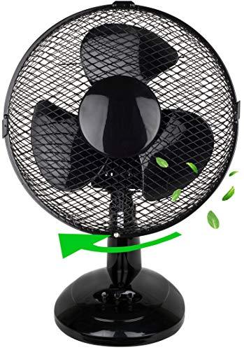 Tischventilator Ø23cm | Ventilator | Rotation zuschaltbar | oszillierend | leiser Betrieb | Windmaschine | Luftkühler | geeignet für Schlafzimmer, Büro, Wohnzimmer |
